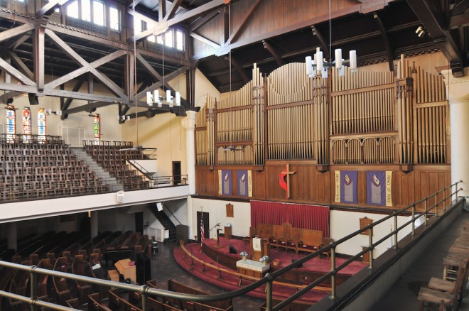 The Tindley Temple organ pipes | Photo: Peter Woodall, 2011