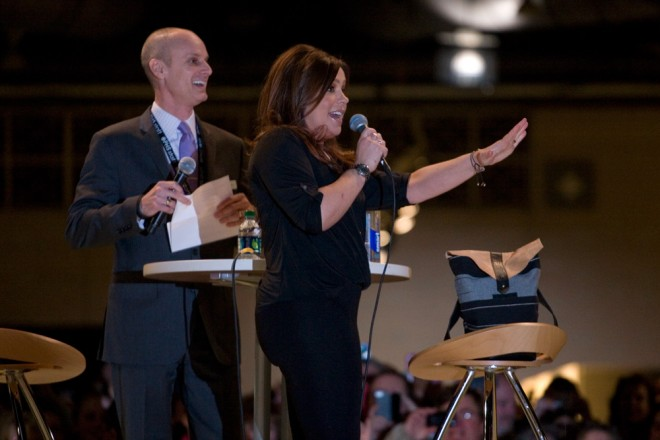 PHS President Drew Becher laughs at Rachael Ray's family friendly jokes | Photo: Bradley Maule