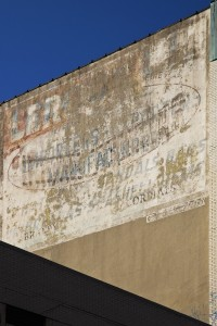 "Ghost sign with Leroux underneath and Segal/Seagull on top. ""Seashells"" and ""cordials""--now that's a combination! 