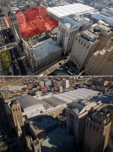 Then and Now: the Convention Center's footprint in 2007 and 2014, viewed from City Hall observation deck | Photos: Bradley Maule