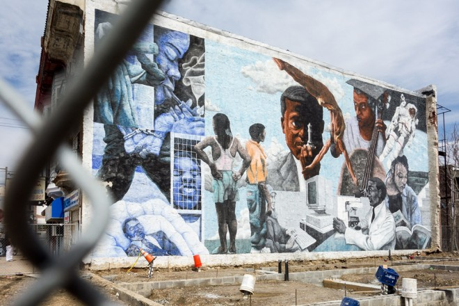 The days are numbered for a powerful mural, as new construction rises to cover it up | Photo: Theresa Stigale
