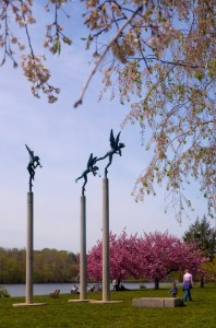 Amongst the cherry blossoms, the only way to see Carl Milles' Playing Angels (1950) | Photo: Bradley Maule