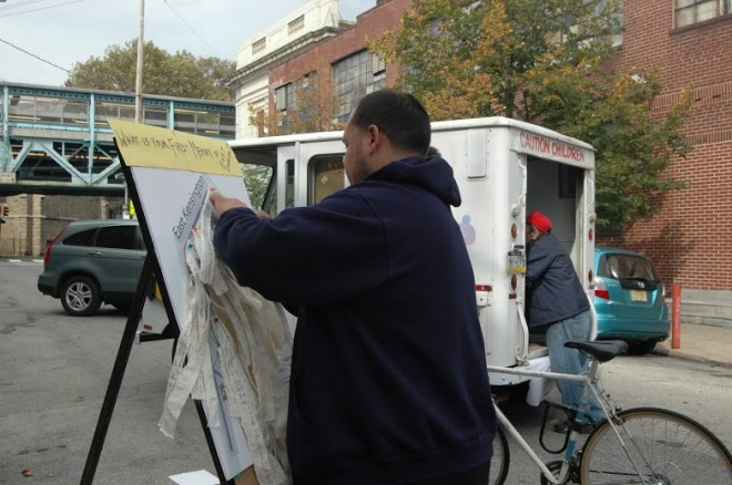 Memory Mapping block party with the Philly History Truck