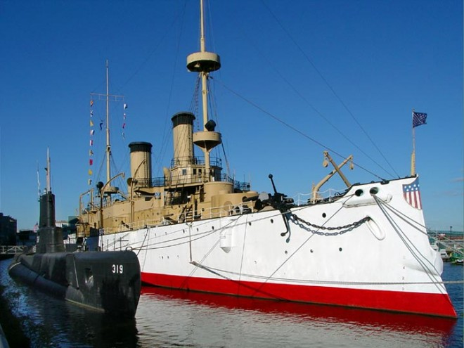 The colorful USS Olympia (and the subtle Becuna) | Photo: Bradley Maule