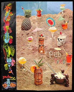 "The cover for Pub Tiki's cocktail menu, whose most expensive drink was a ""Floral Tiki Bowl"" for two -- at $1.55 