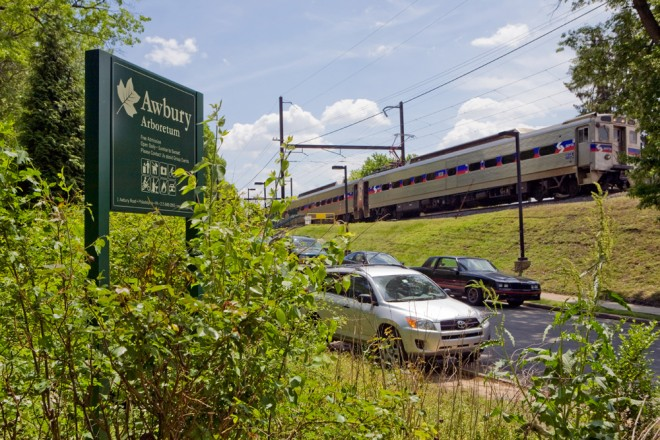 SEPTA's R7 passengers can hop off the train and onto the trail in about 15 steps   Photo: Bradley Maule
