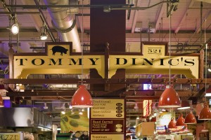 Hand made roast pork sandwiches, served under the hand made sign at Dinic's in Reading Terminal | Photo: Peter Woodall