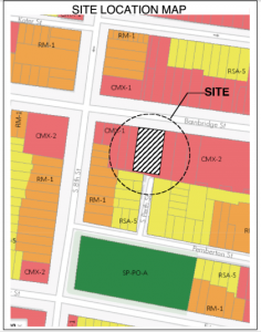 Proposed site of the three single family houses at 734-38 Bainbridge Street