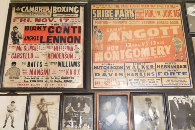 Fight posters for two of Philadelphia's legendary lost venues, at left from 1961, at right from 1942. Shibe Park was of course home to the Athletics and Phillies, but it also hosted more than a hundred fight cards before being torn down in 1976. | Photo: Peter Woodall