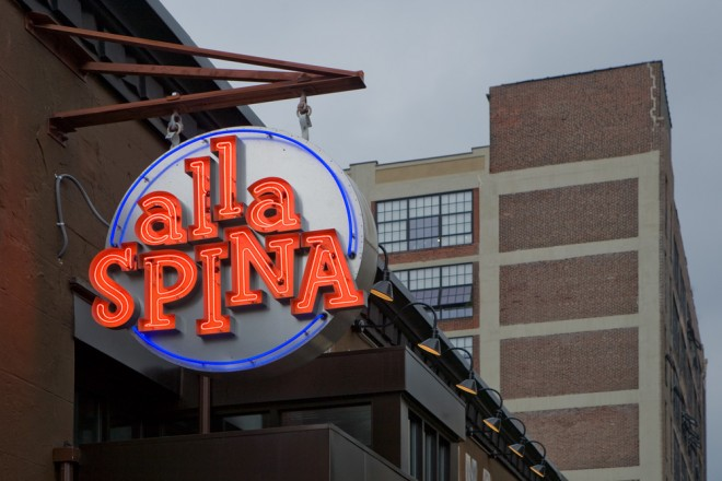 Three Vetri restaurants on North Broad Street feature three Baker signs: Vetri's hand-painted sign, Osteria's cast plaque, and seen here, Alla Spina's electric sign | Photo: Bradley Maule