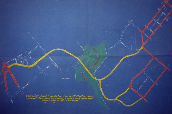 Cathedral Road as grand boulevard, take 3; here, it runs from a traffic rotary where Henry and Ridge Avenues intersect (in red at left), across the Wissahickon and splitting in two at Chestnut Hill | Blueprint courtesy of Penn Archives & Records Center