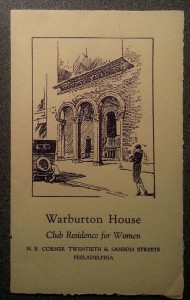 Cover, Warburton House booklet, Emergency Aid Realty Corp. | Used with permission of the Historical Society of Pennsylvania