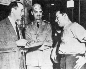 Left to right, Robert Heinlein, L. Sprague De Camp and Isaac Asimov at the Philadelphia Navy Yard, 1944