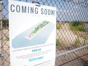 A sign announcing the new Pier 68 park | Photo: Nathaniel Popkin