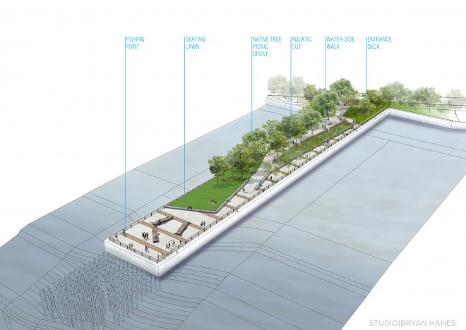 The elements of the Pier 68 park | Image: Studio Brian Hanes
