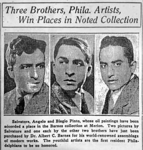 Barnes protégés Salvatore, Angelo, and Biagio Pinto in a 1932 Philadelphia Bulletin feature | Image courtesy of the Barnes Foundation