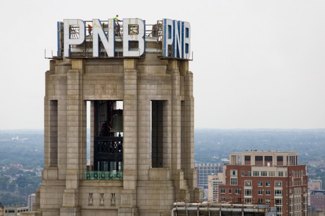 Bell tower of One South Broad, mid-removal of the PNB letters | Photo: Bradley Maule