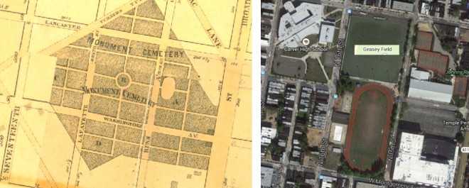 1862 map showing Monument Cemetery, from Smedley's Philadelphia Atlas, at www.philageohistory.org, and a modern map of the same vicinity, from Goggle Maps.