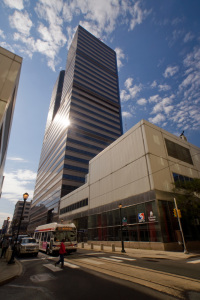 Aramark Tower (née One Reading Center) and Filbert Street entrance to Market East Station   Photo: Bradley Maule