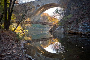 A postcard at every turn: Wissahickon Creek passing under the Bike Trail and Henry Avenue Bridges | Photo: Bradley Maule