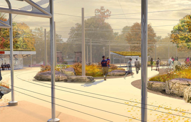 View of 40th Street Trolley Portal from the trolley shelter | Rendering by Andropogon, courtesy of University City District