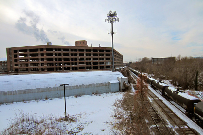 Looking at the former J.F.K. Vocational Center from the South Street Bridge in early 2014 | Photo: Bradley Maule