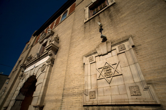 The former B'Nai Reuben synagogue's iconography, before its destruction, April 2014 | Photo: Bradley Maule