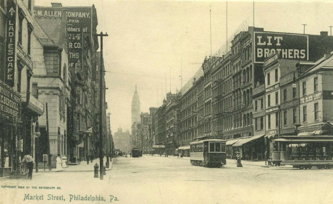 Lit Brothers, 1904. Note the right side of the photo, where the block has not yet been completed, but Lit Brothers' has a major sign | Circa-1904 postcard via Free Library of Philadelphia