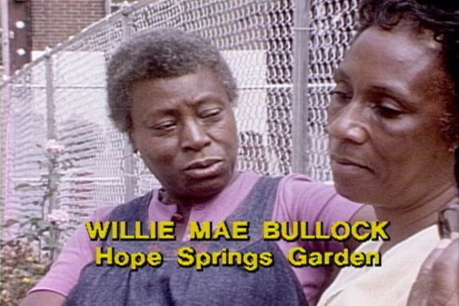 """Film still from a """"Visions"""", a program on Hope Springs Garden at 20th and Diamond Streets 