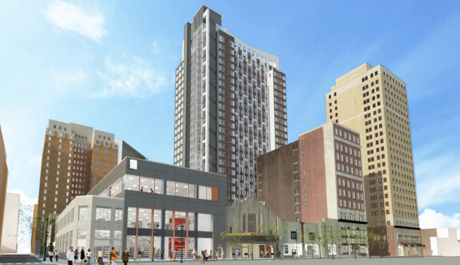 New 27-story tower planned for site of Boyd Theatre | Rendering: Pearl Properties and Eimer Design