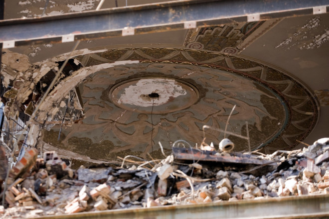 Dance into destruction: deco dancers on the medallion of the Boyd Theatre auditorium, currently being demolished | Photo: Bradley Maule