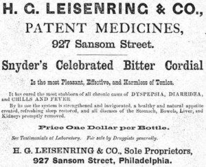 H. G. Leisenring & Co., Patent Medicines advertisement, 1875 | Source: Philadelphia City Directory 1875