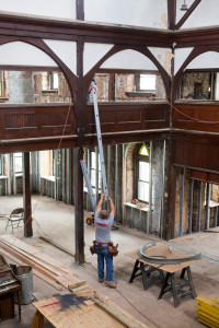 Workers are concentrating on finishing the parish house first | Photo: Peter Woodall