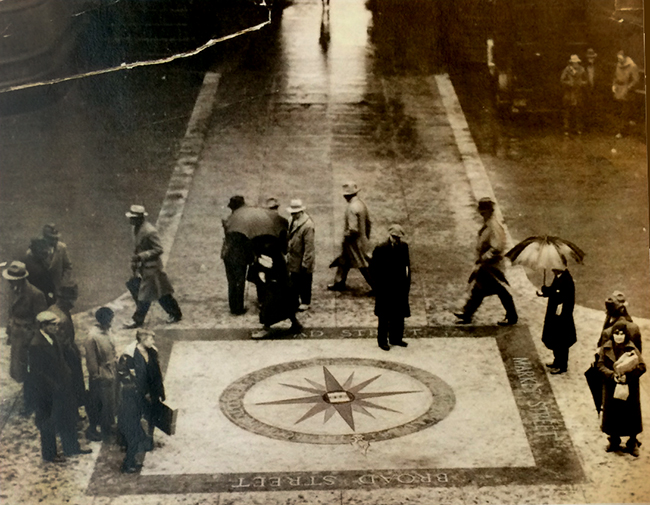 Inaccurate Compass in City Hall Courtyard (now believed under the asphalt)|Photo: Evening Bulletin, Feb. 14, 1935. Courtesy Temple U. Library Special Collections