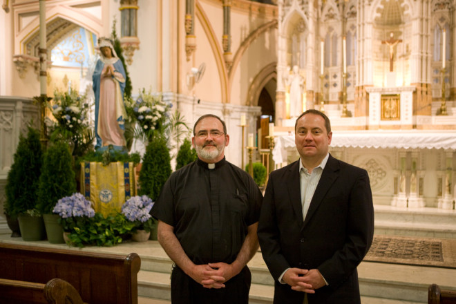 St. John the Baptist pastor Father Kevin Lawrence and Rich Van Fossen, co-chair, Friends of St. John the Baptist | Photo: Bradley Maule