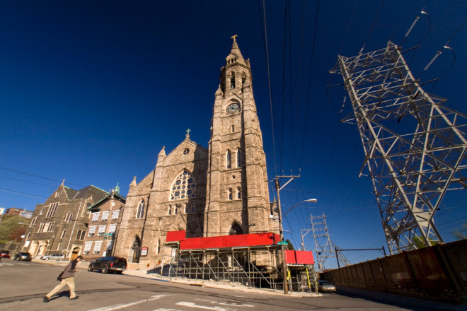 Scaffolding has been erected to protect pedestrians from falling masonry   Photo: Bradley Maule