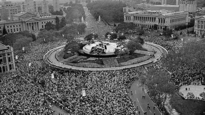 The Logan Circle stage for Pope John Paul II. Over a million people attended the public Mass held on October 3rd, 1979| Source: Phillyhistory.org