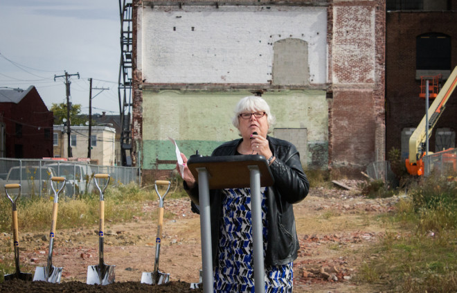 """""""We have been dogged because we recognized that nothing was going to happen here without doing it at this building,"""" said Sandy Salzman at the groundbreaking of Orinoka Civic House on Tuesday 