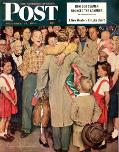 """Christmas Homecoming."" A 13-year-old Peter Rockwell, far left in the second row (with glasses), by his father for the Post, December 1948 