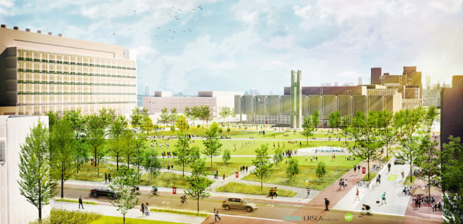 """The Green"" will be the first true academic quad on Temple's Main Campus and the size of a full city block. The new Snøhetta-designed library being built on the site recently demolished Barton Hall can be seen in background 