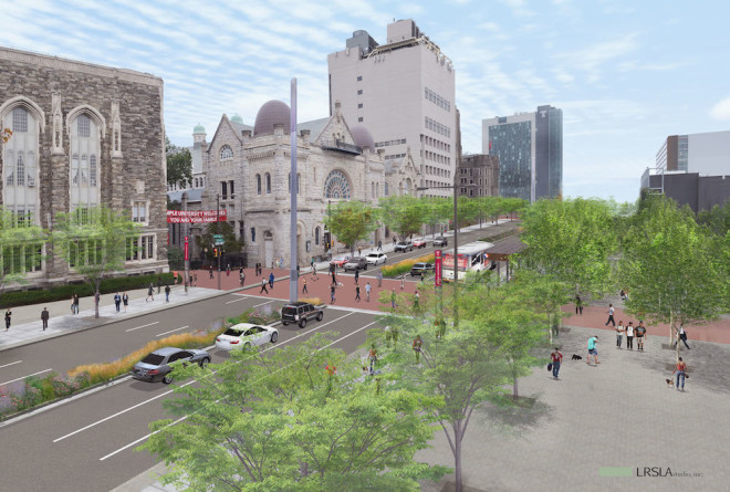A new, public plaza to the west of Broad Street will be developed as a civic and campus destination. The widening of the pedestrian crosswalk and a planted median aims at making this intersection of campus more accessible and visually appealing | LRSLAstudio