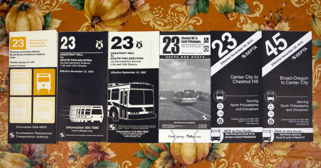 Through the years: SEPTA Route 23 timetables, January 1975–November 2015