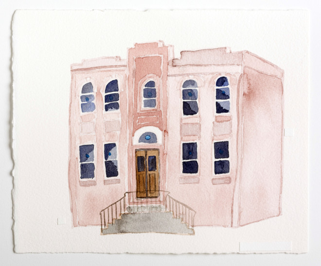 "Beth HaMedrosh HaGadol / Open Heart Church, 60th & Larchwood, West Philadelphia, Watercolor on Paper, 10x12"", Zoe Cohen, 2015 