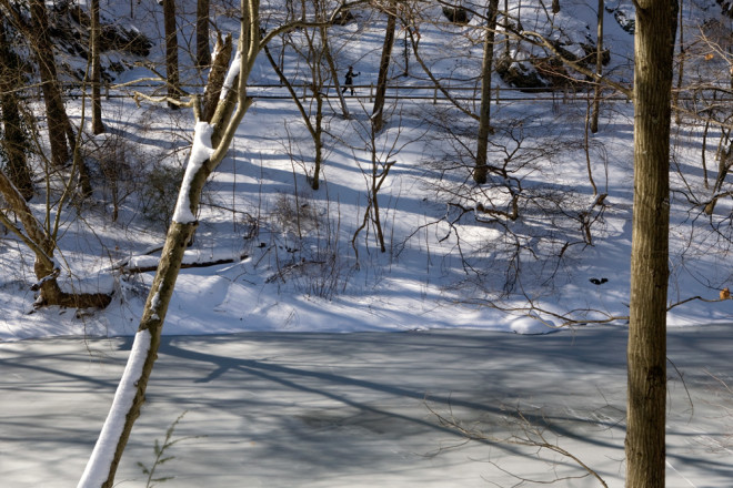 Looking across Wissahickon Creek, a cross country skier glides along Forbidden Drive