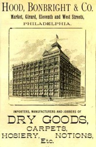 An 1890s advertisement for Hood, Bonbright & Company, showing their retail operation, which in 1901 came under Snellenburg's control | From the Free Library of Philadelphia