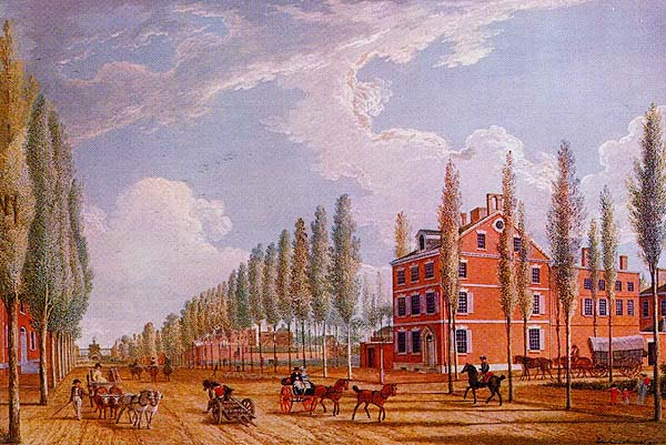 John Dunlap's mansion, watercolor on canvas by John James Barralet, 1807 | courtesy of PLACES IN TIME: Historical Documentation of Place in Greater Philadelphia (www.brynmawr.edu/iconog/washw/geofr.htm)