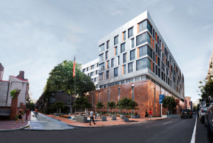 A rebuilt National, including a wrapping orange façade behind a rebuilt Flagpole Park at the end of Elfreth's Alley   Rendering: Barton Partners