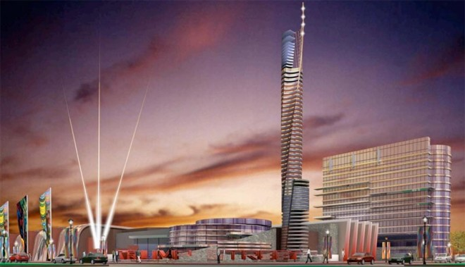 """""""Rendering of the proposed TrumpStreet casino, which was part of a presentation to the Gaming Control Board."""""""