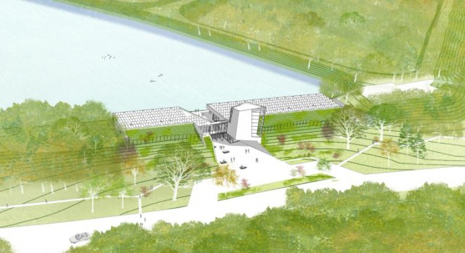 A bird's-eye view of the planned Discovery Center of the East Park Reservoir, to be constructed within the earthen berm of its West Basin. | DIGSAU Architecture