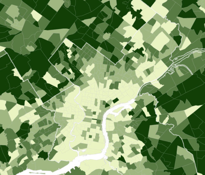 This map displays median black household income across the region. Different colors represent different quantiles, with darkest green representing the highest-earning black households in the region, and lightest green representing the lower-earning